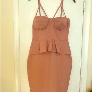 Peach Spaghetti Strap Peplum Dress